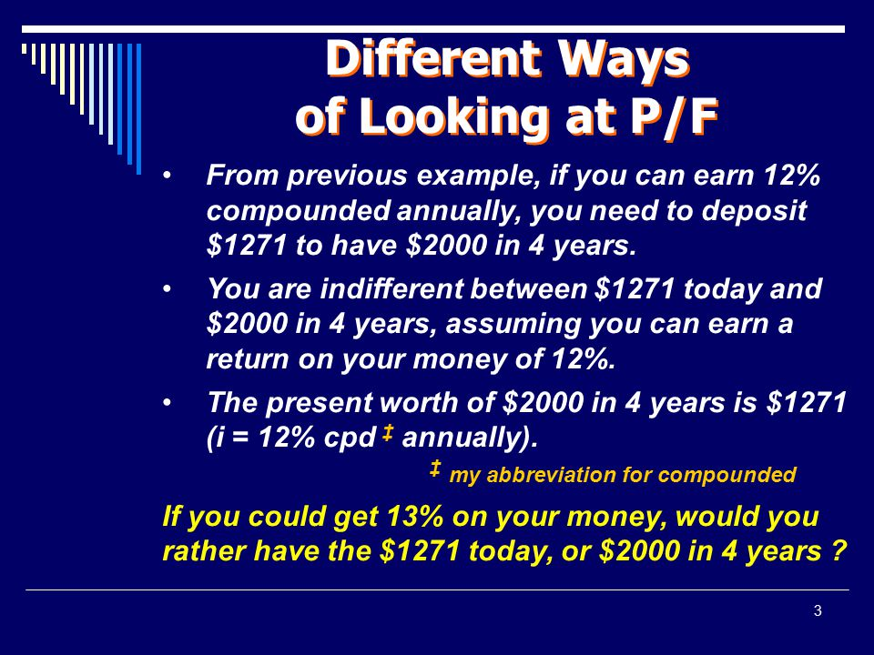 Different Ways of Looking at P/F