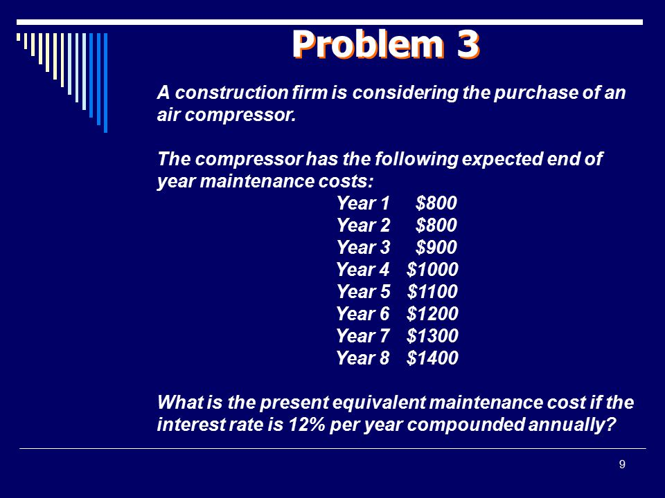 Problem 3 A construction firm is considering the purchase of an air compressor.