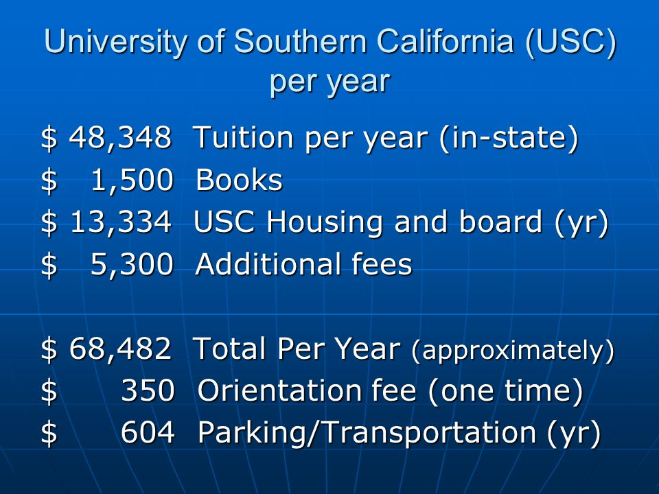 University of Southern California (USC) per year