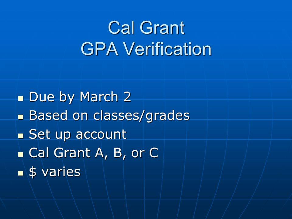 Cal Grant GPA Verification