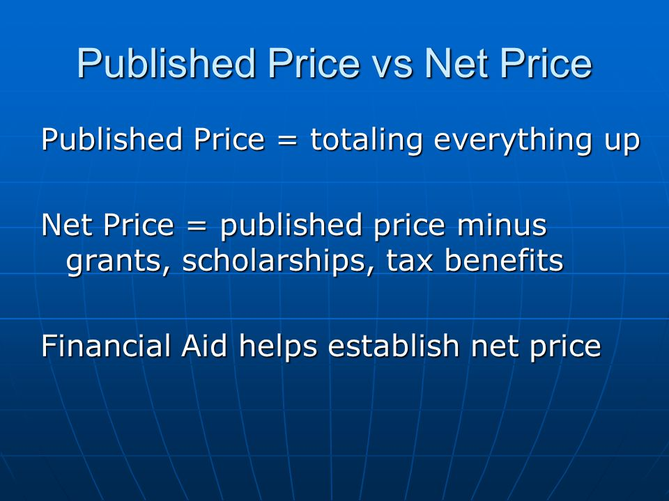 Published Price vs Net Price