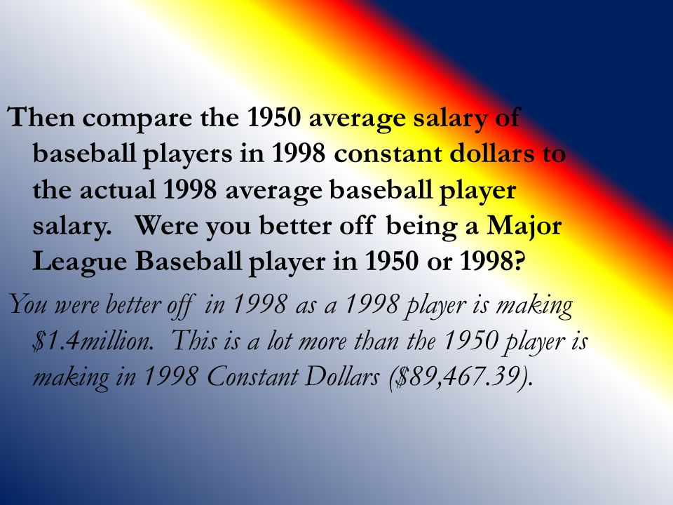 Then compare the 1950 average salary of baseball players in 1998 constant dollars to the actual 1998 average baseball player salary.