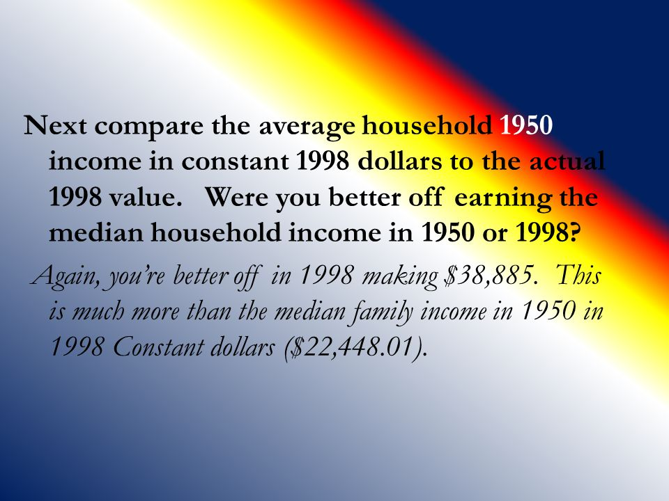 Next compare the average household 1950 income in constant 1998 dollars to the actual 1998 value.