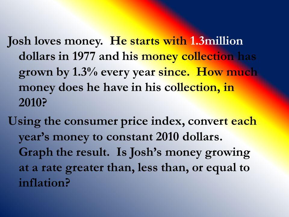 Josh loves money. He starts with 1