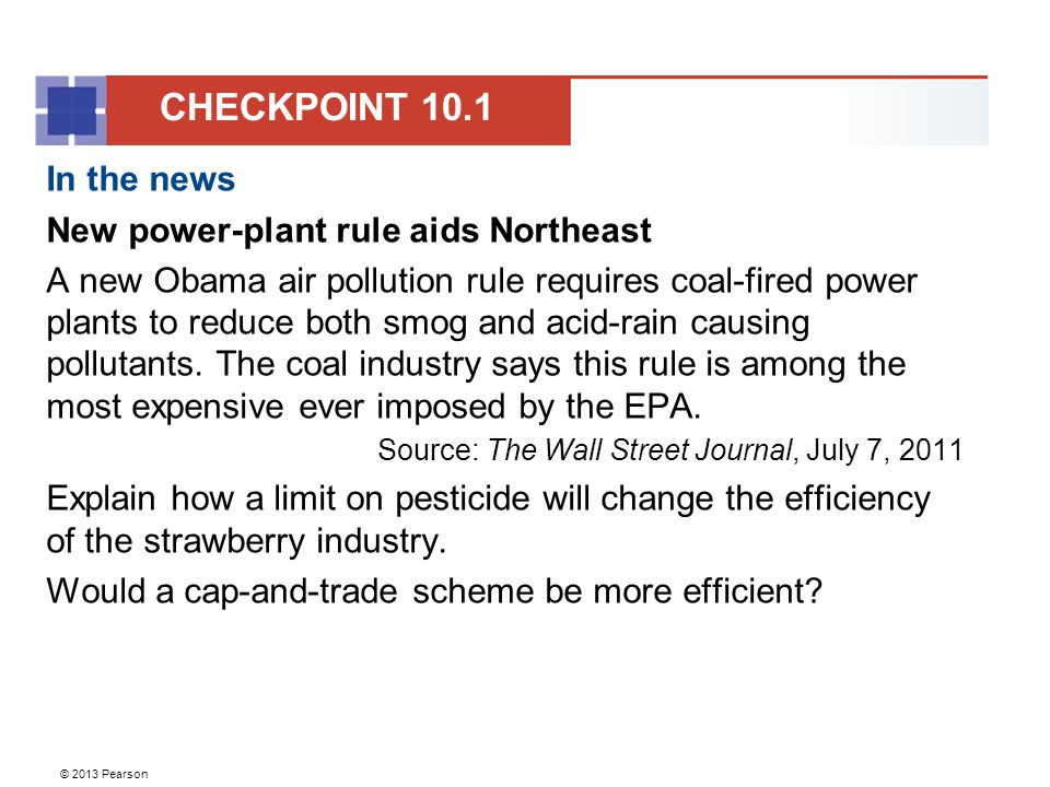 CHECKPOINT 10.1 In the news New power-plant rule aids Northeast