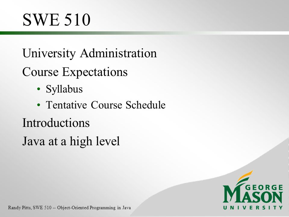 SWE 510 University Administration Course Expectations Introductions
