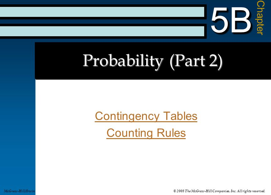 Contingency Tables Counting Rules