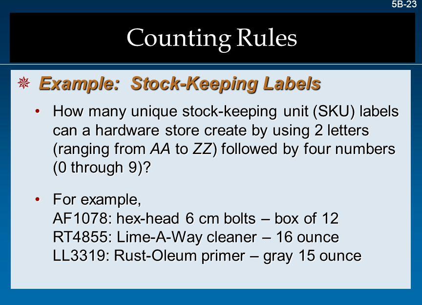 Counting Rules Example: Stock-Keeping Labels