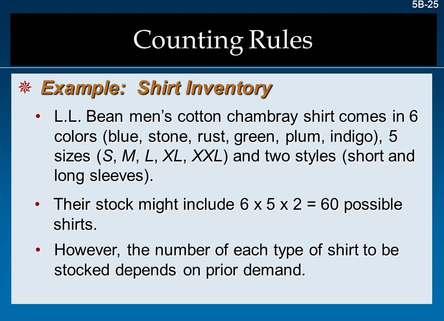 Counting Rules Example: Shirt Inventory