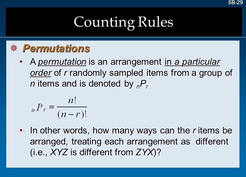 Counting Rules Permutations