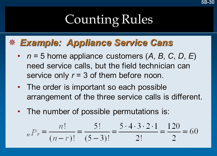 Counting Rules Example: Appliance Service Cans