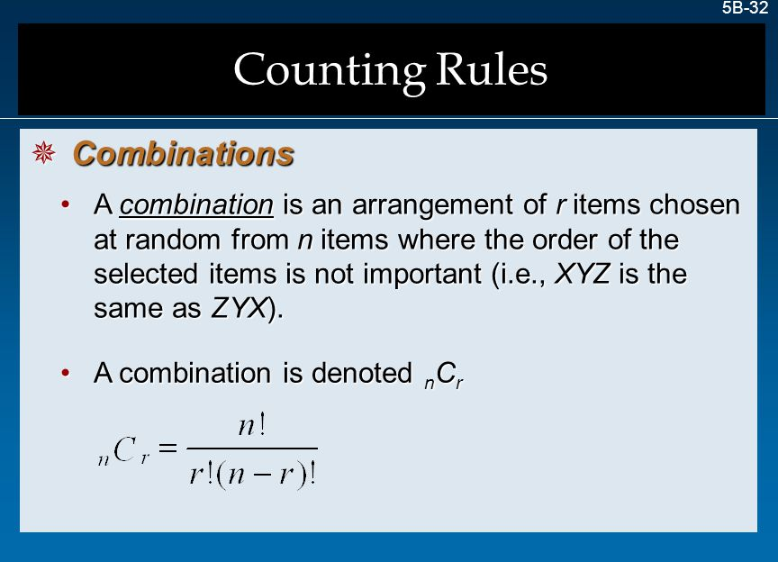 Counting Rules Combinations