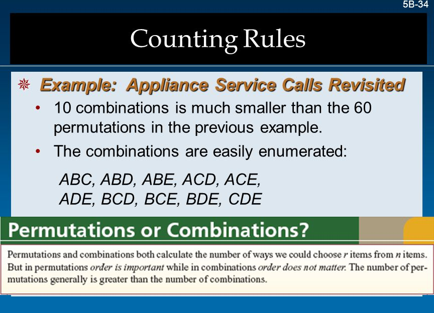 Counting Rules Example: Appliance Service Calls Revisited