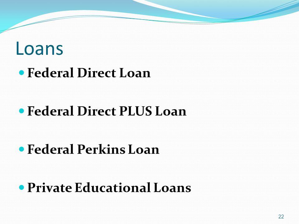Loans Federal Direct Loan Federal Direct PLUS Loan