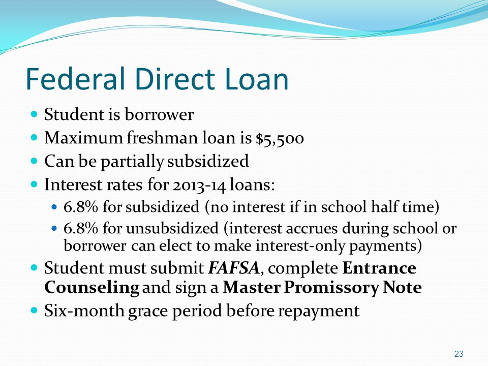 Federal Direct Loan Student is borrower