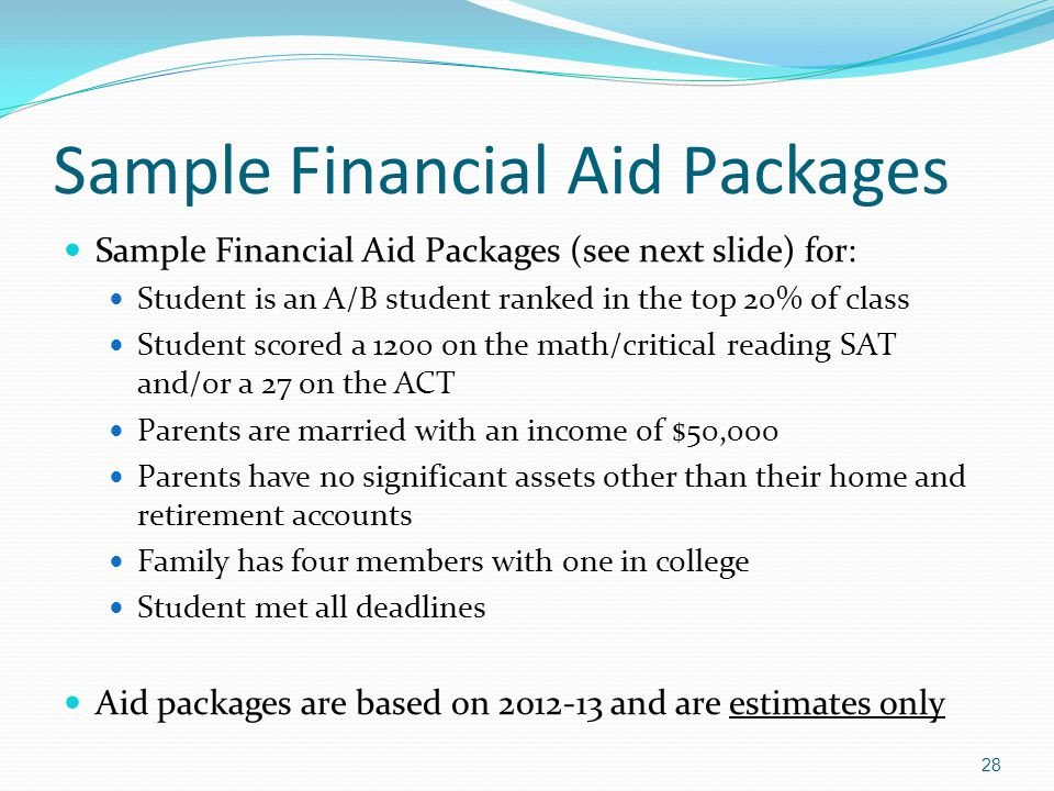 Sample Financial Aid Packages