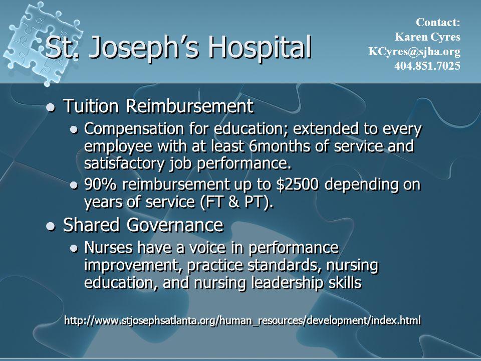 St. Joseph's Hospital Tuition Reimbursement Shared Governance