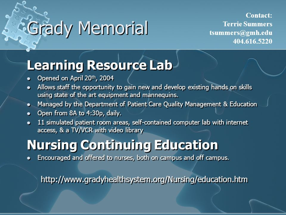 Grady Memorial Learning Resource Lab Nursing Continuing Education