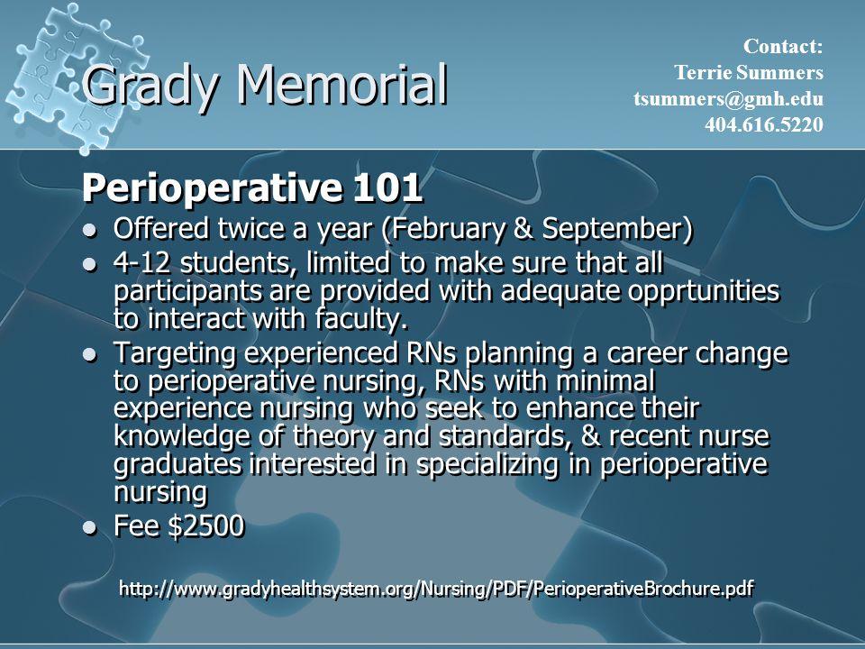 Grady Memorial Perioperative 101