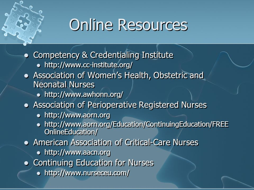 Online Resources Competency & Credentialing Institute