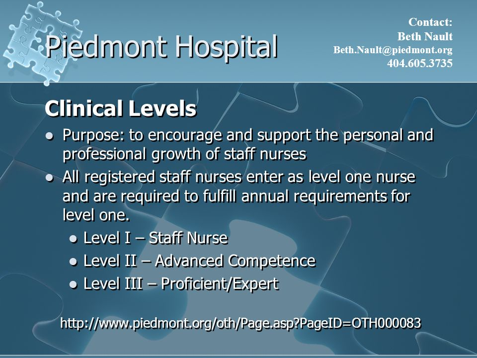 Piedmont Hospital Clinical Levels