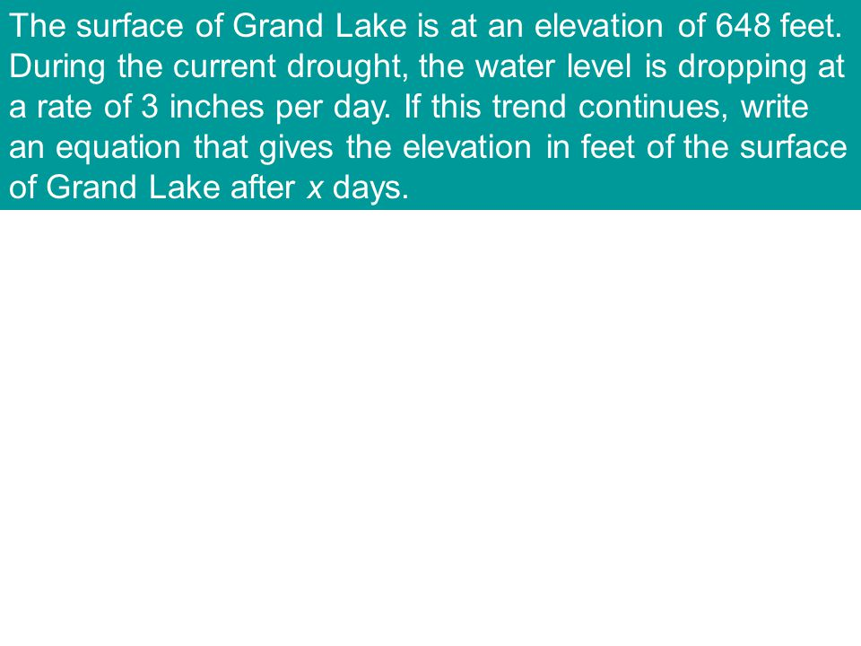 The surface of Grand Lake is at an elevation of 648 feet