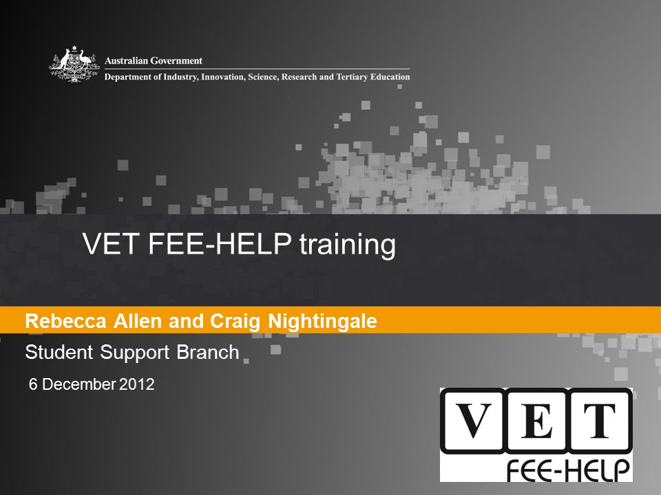 VET FEE-HELP training Rebecca Allen and Craig Nightingale