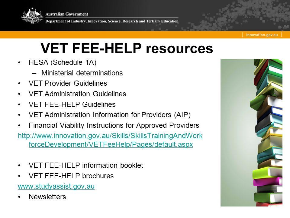 VET FEE-HELP resources