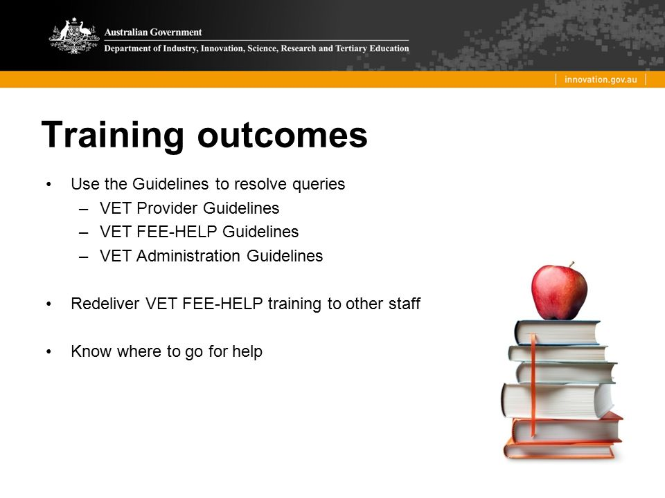 Training outcomes Use the Guidelines to resolve queries