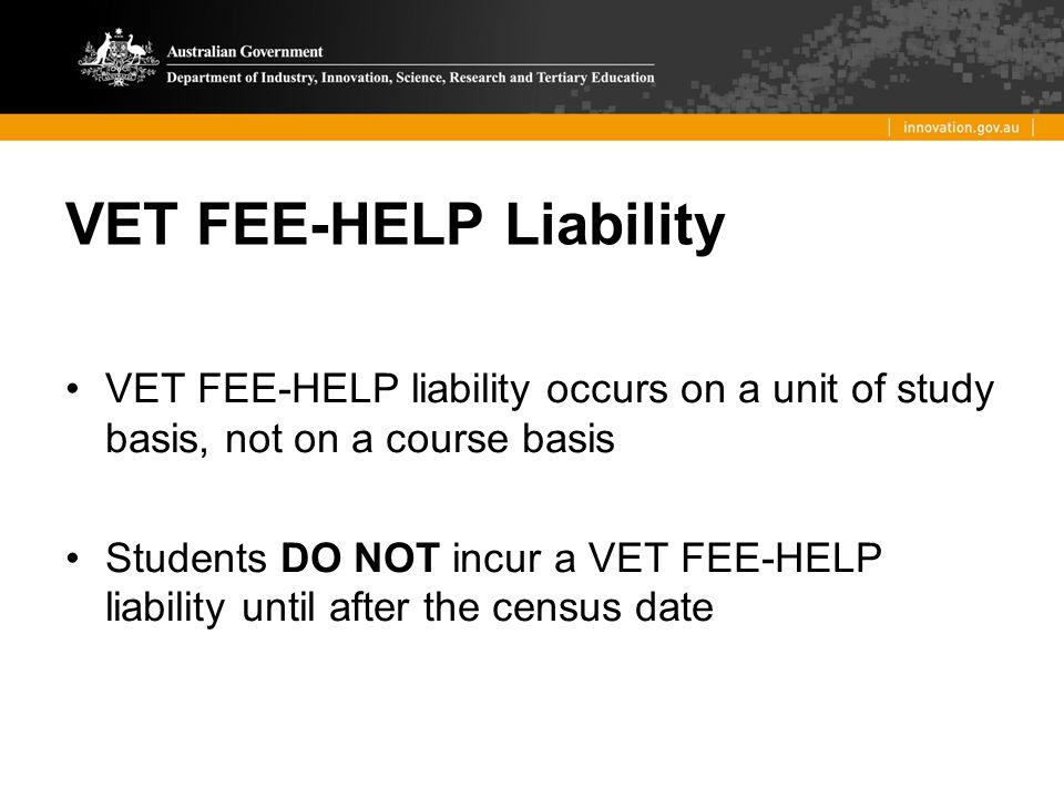VET FEE-HELP Liability