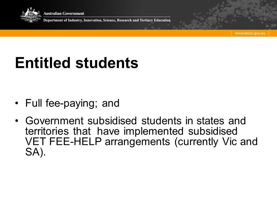 Entitled students Full fee-paying; and