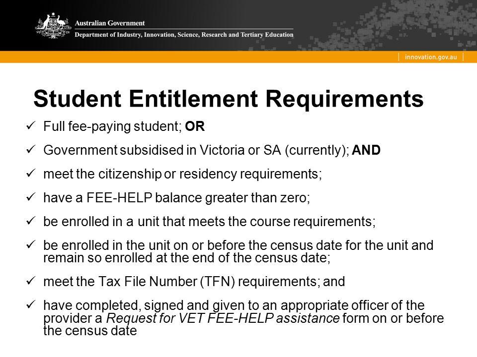 Student Entitlement Requirements