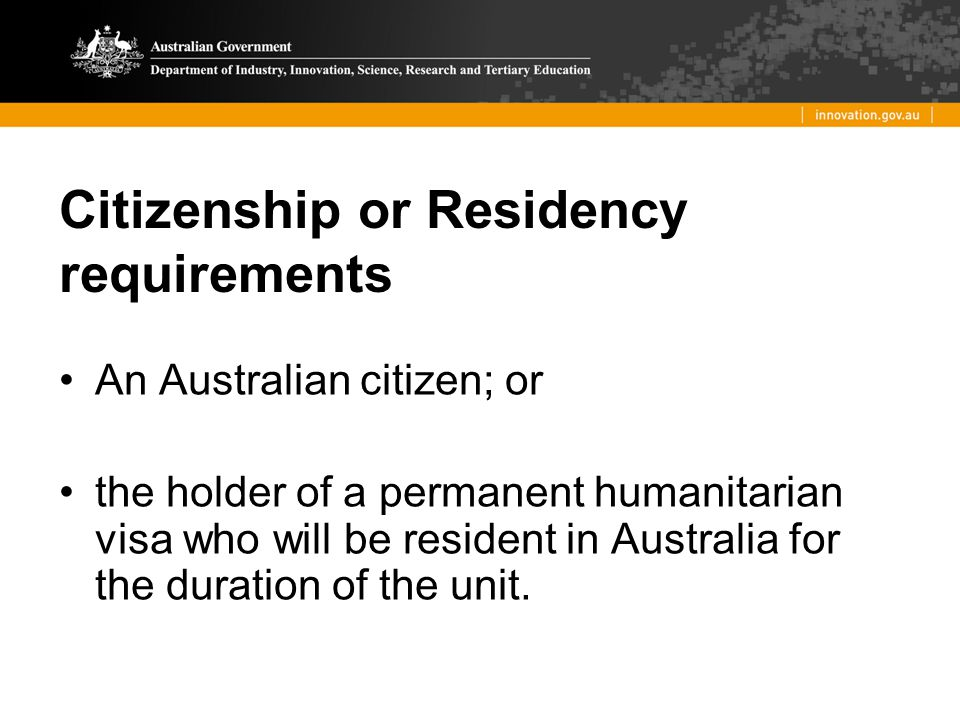 Citizenship or Residency requirements
