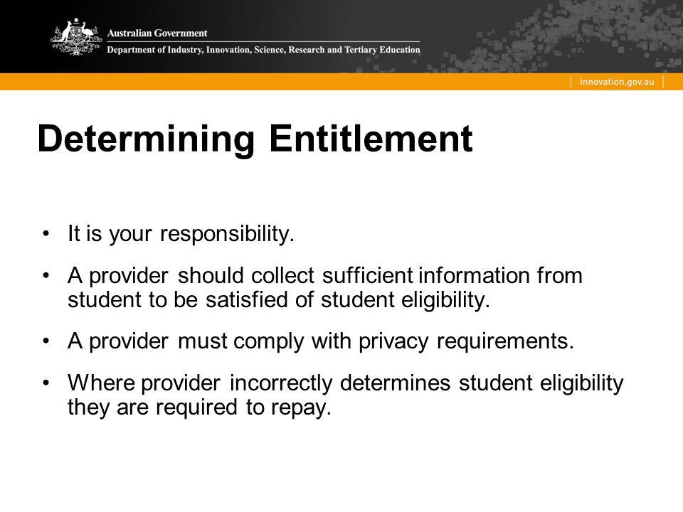 Determining Entitlement