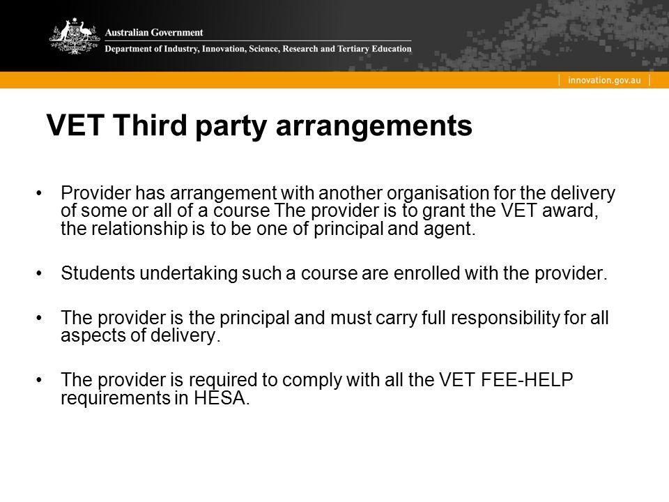 VET Third party arrangements