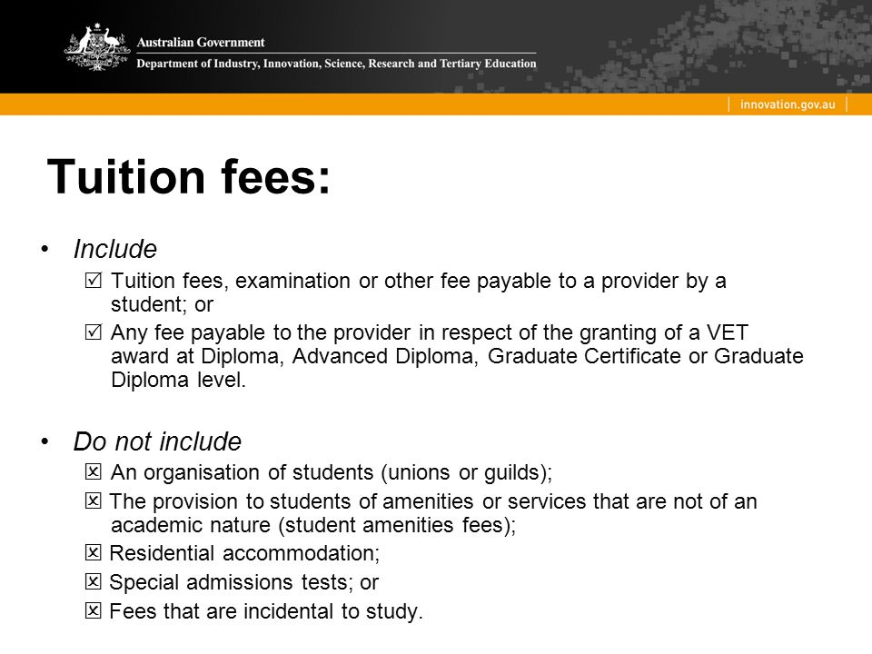 Tuition fees: Include Do not include