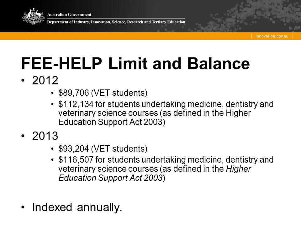 FEE-HELP Limit and Balance