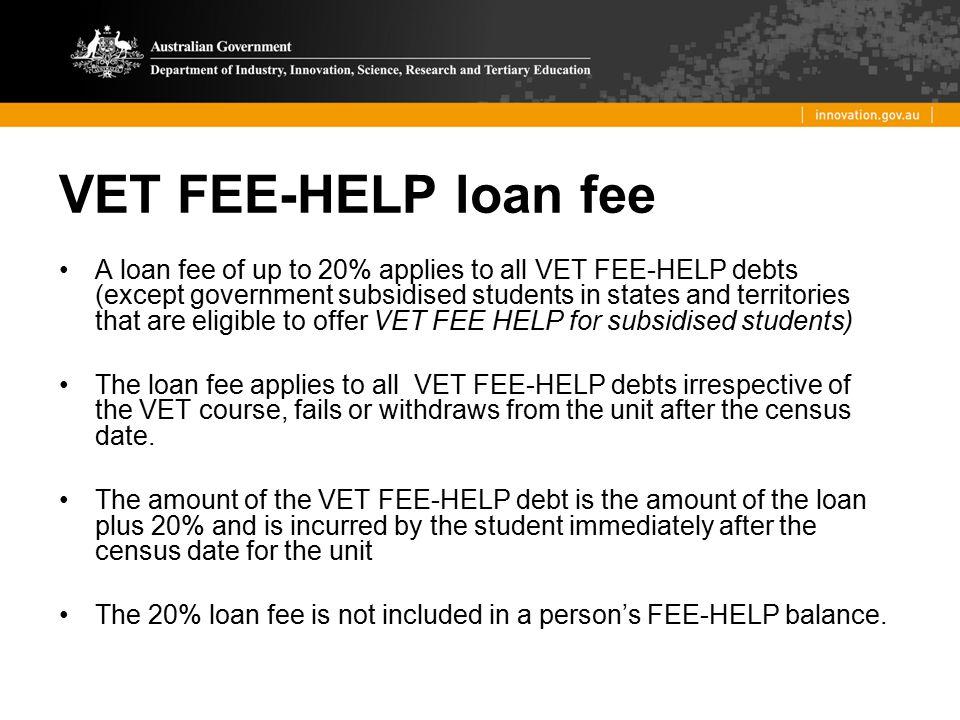 VET FEE-HELP loan fee