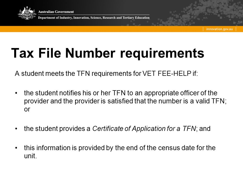 Tax File Number requirements