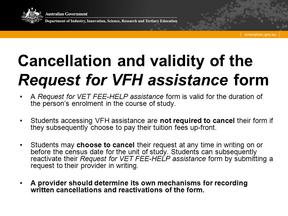 Cancellation and validity of the Request for VFH assistance form