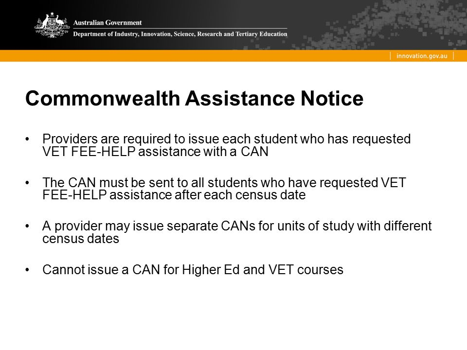 Commonwealth Assistance Notice