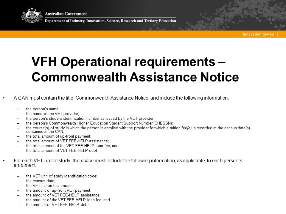 VFH Operational requirements – Commonwealth Assistance Notice