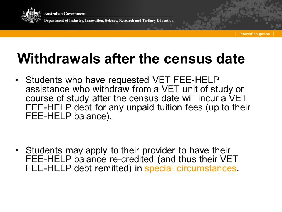 Withdrawals after the census date