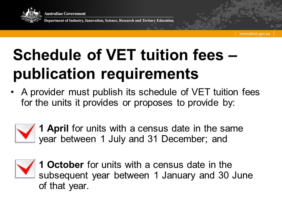 Schedule of VET tuition fees – publication requirements