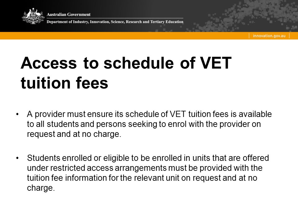 Access to schedule of VET tuition fees