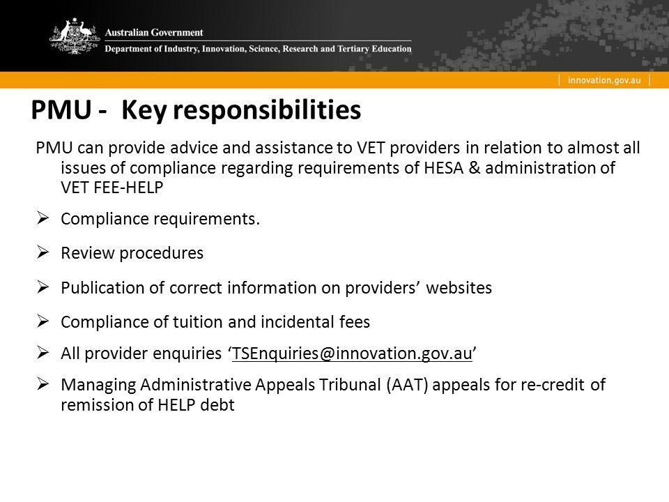 PMU - Key responsibilities