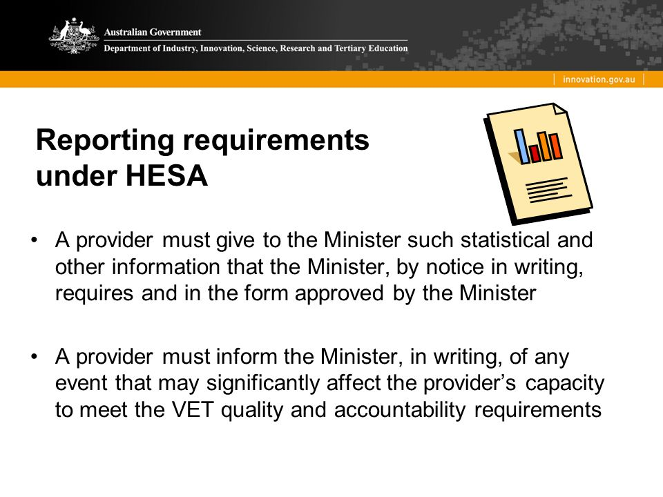 Reporting requirements under HESA