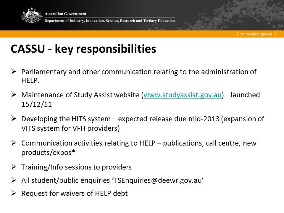 CASSU - key responsibilities