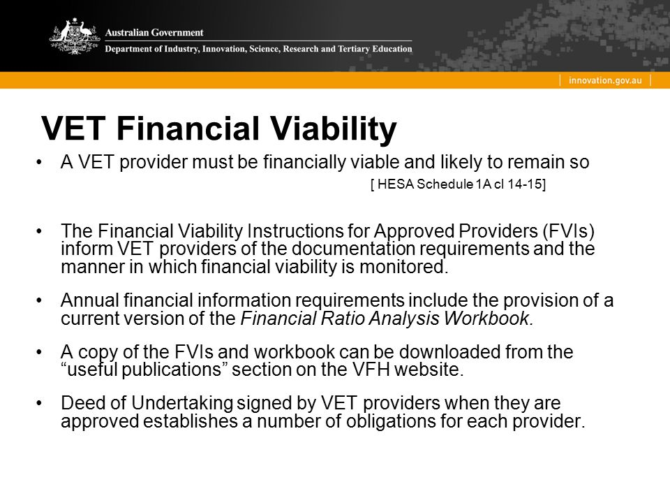 VET Financial Viability