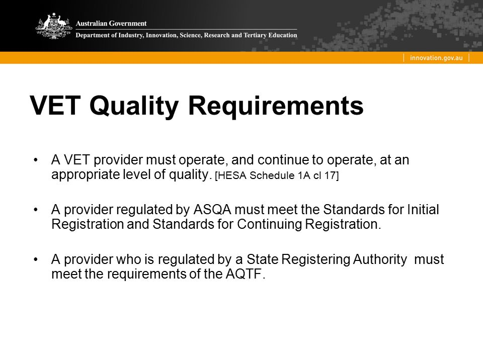 VET Quality Requirements